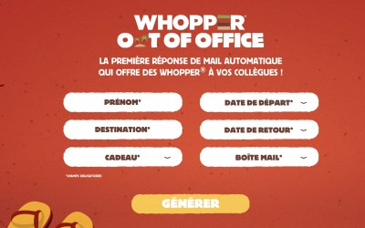 Buzzman lance le Whopper Out of Office pour BK Belgique