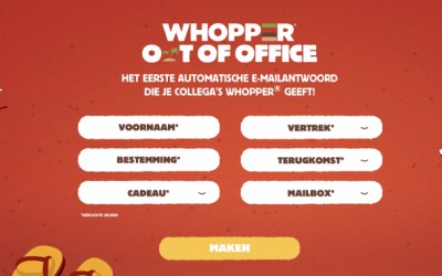 Buzzman lanceert Whopper Out of Office voor Burger King België